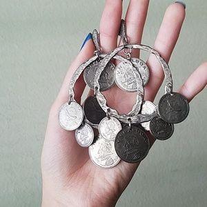 Jewelry - Gypsy boho coin hoop silver tone earrings